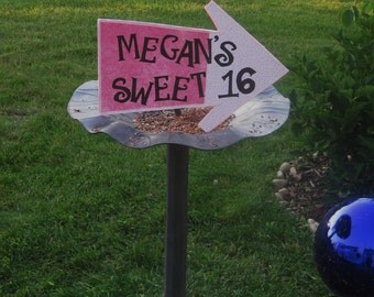 Personalized Alice in Wonderland Arrow Sign (One Whimsical Arrow on Foam Board) - SWEET 16 - Customize it with any name and color!