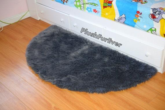 Demi-lune 5u0026#39; fausse fourrure shaggy tapis / gris Fur / 5u0026#39; demi cercle ...