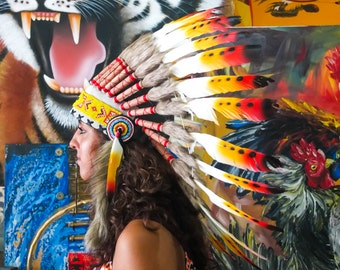 The Original - Real Feather Rasta Chief Indian Headdress Replica 65cm, Native American Style Costume Hand Made War Bonnet Hat