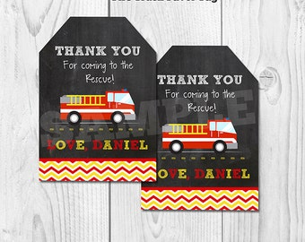 Fire Truck Favor tags, Firetruck Gift tags, Firefighter Sticker tags, Fire truck Chalkboard favor tags, Fireman gift tags, printable DIY