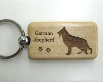 German Shepherd Wood Keychain - Customizable