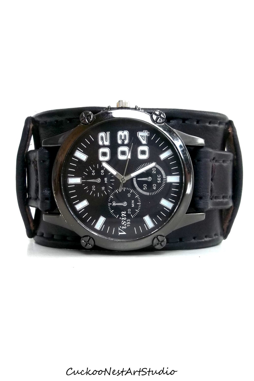 Steampunk Leather Wrist Watch Mens watch Leather Cuff |Wrist Watch For Men Leather