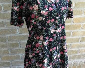 Floral Vintage Dress / Vintage Black Floral Dress / Tie Back Floral Dress / Size M