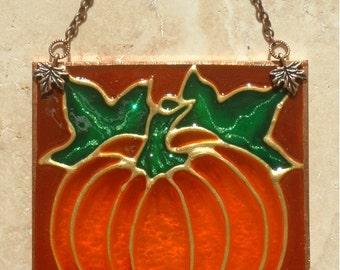 Autumn Fall Pumpkin Decor Stain Glass Pumpkin Thanksgiving Suncatcher Halloween Pumpkin Ornament Glass Panel Wall Hanging Art Fall Autumn