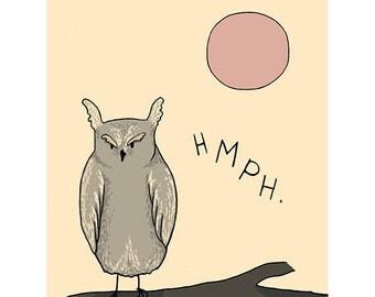 "Horned Owl Print - 8.5""X11"" Digital Art Drawing - HMPH"