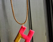 Neon pink gold dipped letter necklaces
