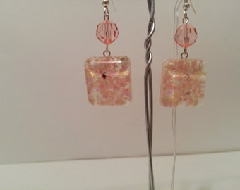 Pink and Cream Stars on Resin Earrings