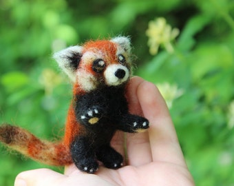 Miniature Poseable Needle Felted Red Panda - Made to Order