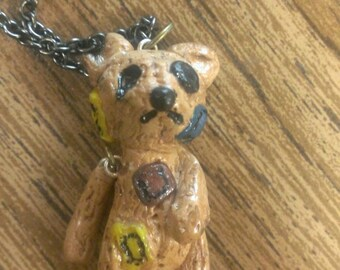 Patch! Teddy Bear Necklace! Ripped Teddy Bear
