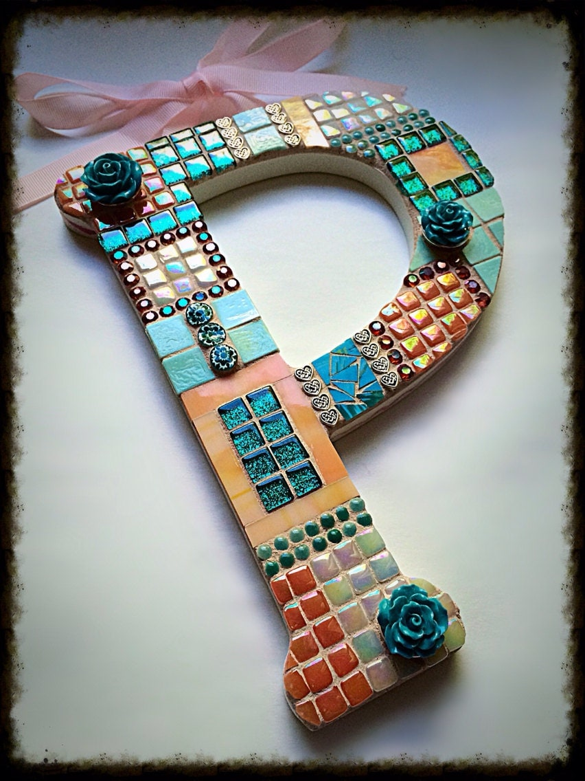 Mosaic letter p initial nursery room baby art home decor wall for Party wall act letter to neighbour