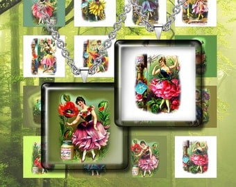 """Floral Fairies Images- Digital Collage Sheet – 1"""" & 1.5"""" sizes– Printable Download for Pendants, Earrings, Charms"""