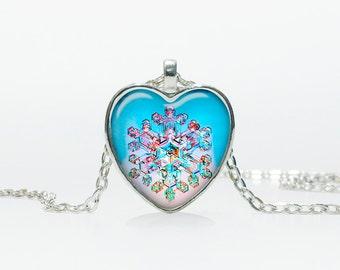 Snowflake necklace Snowflake pendant Snowflake jewelry vintage style Heart shape Christmas gift