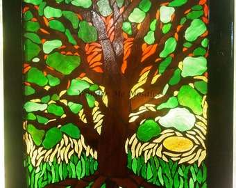 Stained Glass Mosaic on Glass - Large Tree at Sunrise