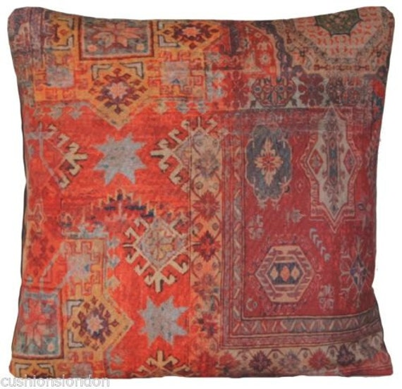 Throw Pillows And Rugs : Red Cushion Cover Ethnic Rug Throw Pillow by CoralHomeAccessories