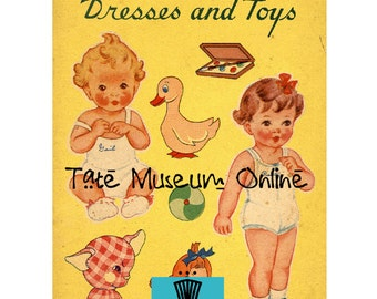 Paper Doll Vintage Baby Paper Dolls Four Playmates  Digital Download Collage Sheets Paper Art Dolls + BONUS Booklet
