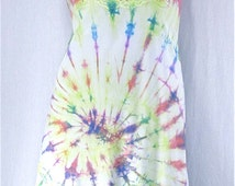 Tie Dye Slip Dress 36 Medium Upcycle Full Slip Vintage Lingerie Hippie Sundress Boho Nightgown Gay Pride Rainbow Dye Festival Dress