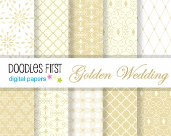 Golden Wedding Elegant  Digital Paper Pack Includes 10 for Scrapbooking Paper Crafts