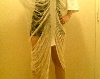 Shredded Dress Beach Tunic White Fits All Hand Made