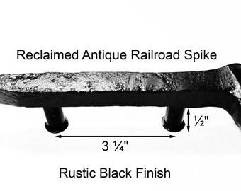 "3 1/4"" Right Black Railroad Spike Cupboard Handle Dresser Drawer Pull Cabinet Knob Antique Vintage Old Rustic Re-purposed House Restoration"