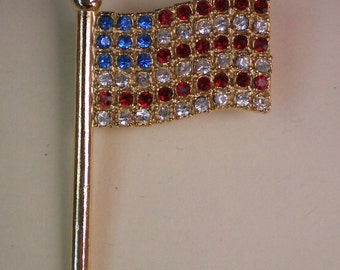 American Flag Pin with Red, White, Blue Crystals - 1888