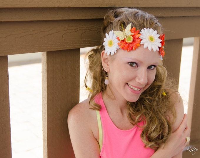 White Orange Daisy Flower Crown