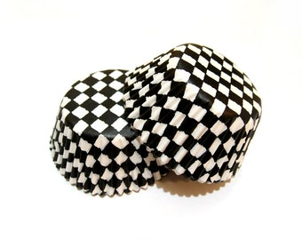 Black and White Checker Cupcake Liners (50)