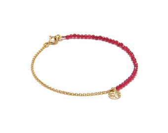 Bracelet « Pampille » red Agate, gold-filled