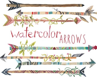 Arrow Clipart, Tribal Clipart, Tribal Arrows, Arrows clip art, Watercolor arrows, painted arrow clip art, Instant download, Arrow, Arrows