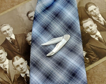 Vintage Switchblade Tie Pin Circa 1950 Mother Of Pearl