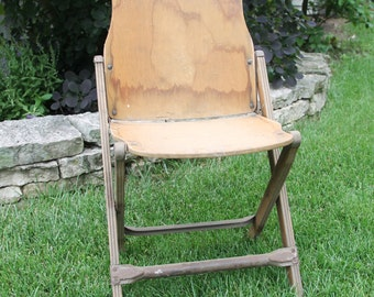 vintage wood folding chair government issue 1940s military memorabilia wwii seating apartment