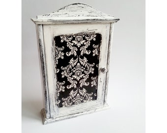 Black and white wooden key box cabinet shabby chic victorian motive wall decor hand painted hagning key box gift idea