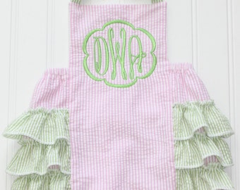 Pink and Green Ruffle Bubble, Ruffle Bum Bubble, Ruffle Sunsuit, Monogrammed Sunsuit