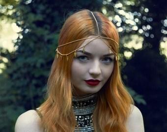 Gold Headdress, Gold Head Chain, Boho Headdress, Boho Hair Piece, Boho Head Chain, Gold Hair Piece, Gold Feathers