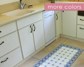 Blue Kitchen Mat With Tiles Pattern In White, Printed On PVC. Doormat, Area