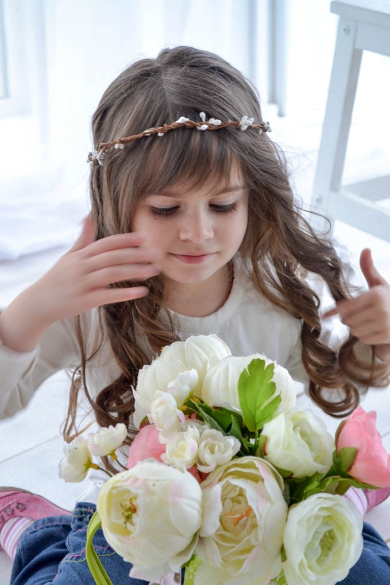 White Woodland Flower Girl Crown, Bridal Accessories Hair, Flower Headpiece, Photography Prop