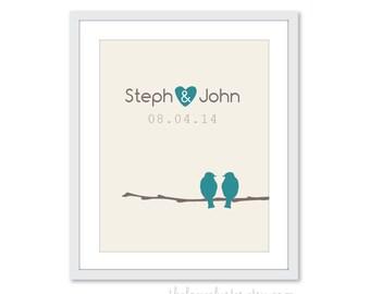 Wedding Birds Art Print - Love Birds Poster - Teal Blue Brown - Newlyweds  Personalized poster - Engagement Gift - Keepsake Art Print