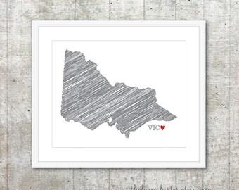 State of Victoria - Custom Australian State Love Poster - Slate Grey Red Heart - Australia Modern Wall Art