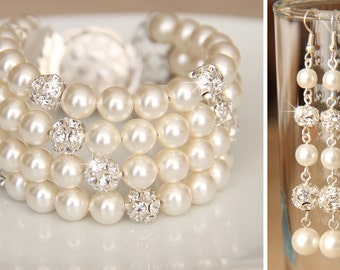 Bridal Jewelry Bracelet and Earrings, Ivory Swarovski Pearl Bridal Jewelry Bracelet, Pearl Earring, art. e23-b07