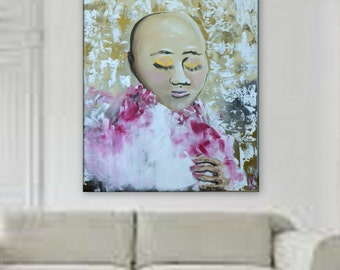"breast cancer awareness wall art pink woman XXL Abstract Painting xl wall art cancer foundation Huge 60"" x 48"" unstretched canvas"