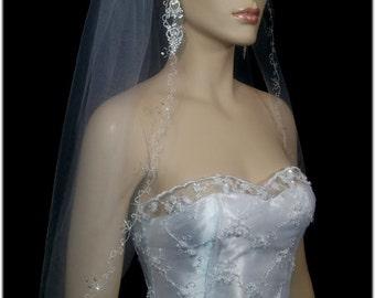 1 Tier White or Ivory Bridal Veil /Veils,Wedding Embroidered Embellished Edge | 1 layer bridal veil
