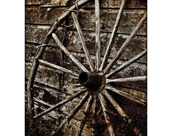 Sepia Wheel Print, Amish Broken Horse Carriage Wheel, Rural Vintage, Black and White Photography, Barn Symmetry, Fine Art Photography