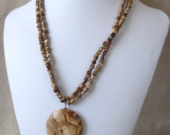 USA PictureJasper Genuine Natural Necklace with Matching Earrings in Solid Sterling Silver