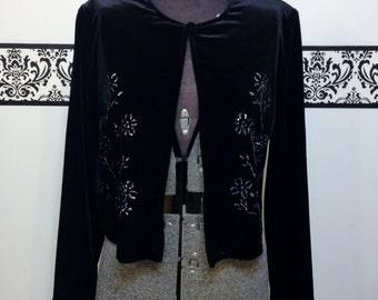 1980's Black Velvet Pin Up Bolero Jacket with Glitter Detailing by Ronni Nicole, Vintage 1980's Velvet Jacket Size Medium