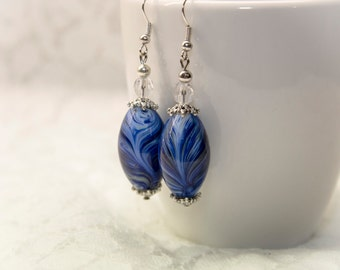 Blue Lampwork glass earrings