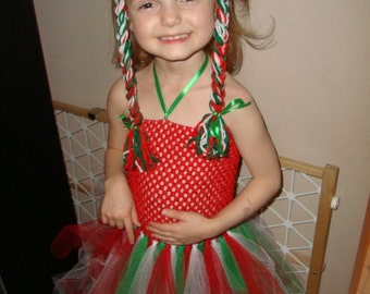 Christmas Yarn Pigtail Braids Headband, Great fun for the holidays! Super cute hair accessory