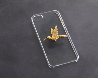Transparent iPhone 5 Cover iPhone 7  Clear iPhone 6 Plus Case Hummingbird  S5 iPhone 7 Humming Bird iPhone 6s  Bird Case Gold