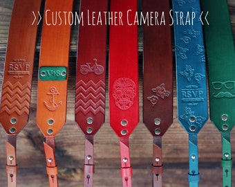 "Custom 45"" Leather Camera Strap, Handmade personalized gift, hipster style, hand stitched. Choose color, stamp, custom text, name, initials"