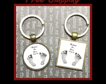 Baby's Footprint Keychain, Personalized keychain for family keepsake and memories