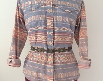 1980's Southwestern Blouse/Shirt by Roper--Country/Cowgirl/Western/Tribal