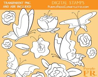 SPRING - Digital Stamp Set, Brushes. 10 images, 300 dpi. jpeg, png, abr files. Instant download.